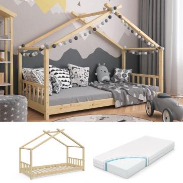VITALISPA Hausbett DESIGN 90x200cm Holz Natur + Matratze