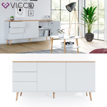 Vicco Sideboard Corona Kommode Schrank in weiß, Scandi-Look