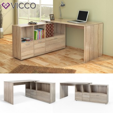 VICCO Eckschreibtisch Flex Computertisch Regal Sideboard Sonoma Eiche