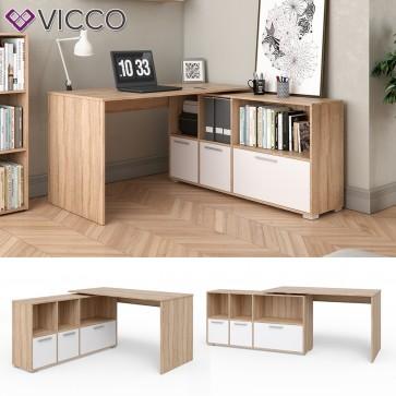 VICCO Eckschreibtisch Flex Computertisch Regal Sideboard Weiß Sonoma Eiche