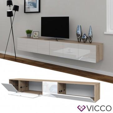 VICCO Sideboard CUMULUS 2er Set-Weiß / Sonoma Eiche
