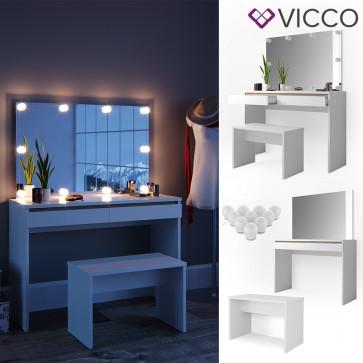 VICCO Schminktisch EMMA-mit Bank & Spiegel & LED