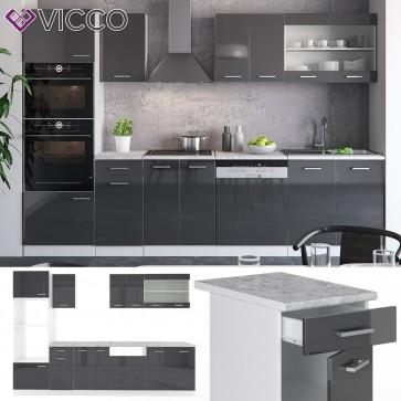 VICCO Küche R-Line 300 cm Anthrazit hochglanz + Arbeitsplatten