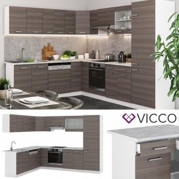 VICCO L- Küche R-Line 300 cm Edelgrau