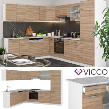 VICCO L- Küche R-Line 300 cm Sonoma Eiche