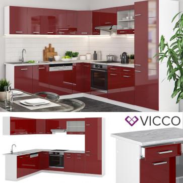 VICCO Eck Küche R-Line Bordeaux Hochglanz