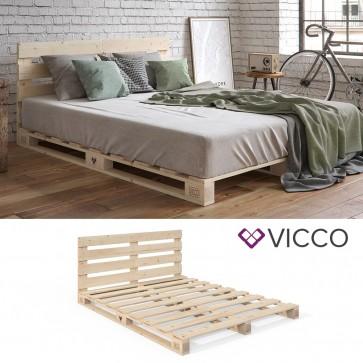 VICCO Palettenbett 140x200 mit Kopfteil