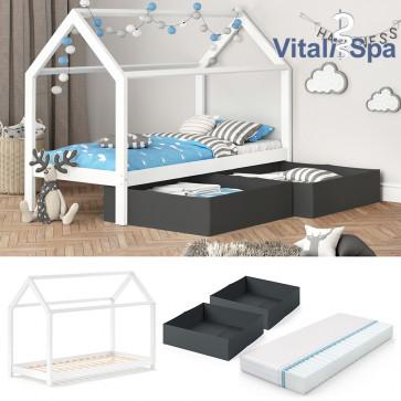 VITALISPA Hausbett WIKI MDF + Faltboxen anthrazit + Matratze