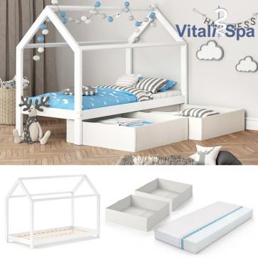 VITALISPA Hausbett WIKI MDF + Faltboxen weiß + Matratze