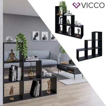 Vicco Treppenregal mit 6 Fächern Schwarz