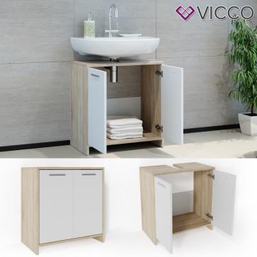 VICCO Waschbeckenunterschrank KIKO 60 cm Sonoma Weiß