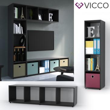 VICCO Raumteiler LUDUS 140 x 35 cm Schwarz