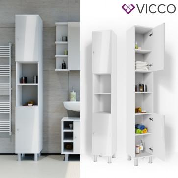 VICCO Badschrank FYNN 190 x 30 cm Weiß Hochglanz