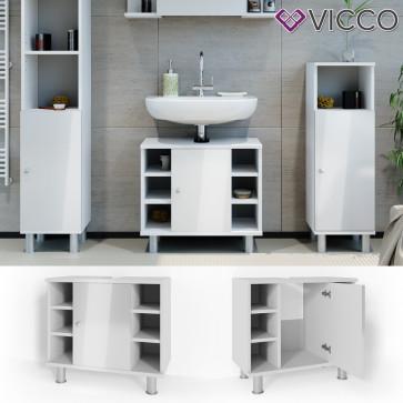 VICCO Waschbeckenunterschrank FYNN 60 cm Weiß Hochglanz