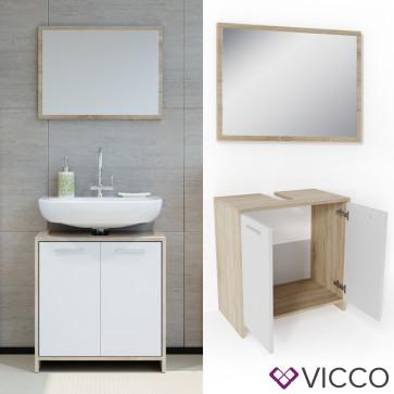 VICCO Badmöbel Set KIKO 2 Teile Sonoma Weiß