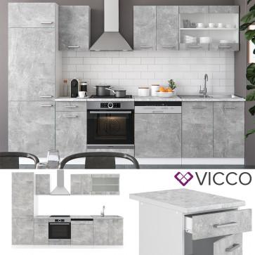 VICCO Küche R-Line 300cm Beton ohne Arbeitsplatten