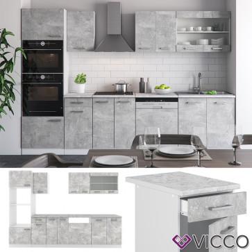 VICCO Küche R-Line 300cm Beton mit Arbeitsplatten