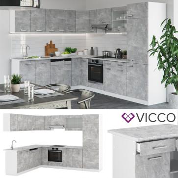 VICCO Eckküche R-Line Beton mit Arbeitsplatten