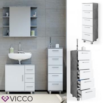 VICCO Badschrank ILIAS Beton Weiß