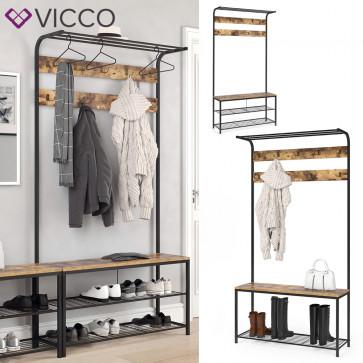 VICCO Garderobenständer FYRK Garderobe Schuhregal Kleiderständer mit Sitzbank