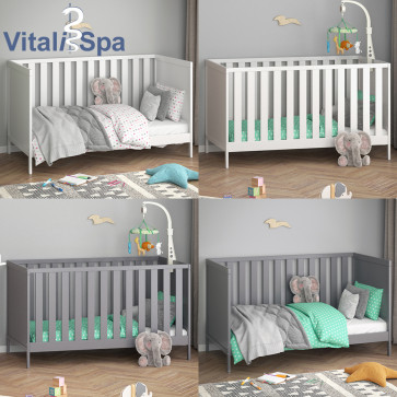 VITALISPA Babybett JONAS 70x140cm Gitterbett Umbaubett Kinderbett umbaubar
