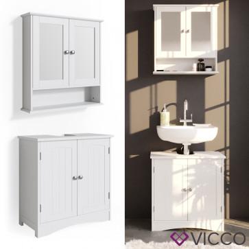VICCO Badmöbelset 1 Bianco (Waschtischunterschrank + Spiegelschrank)