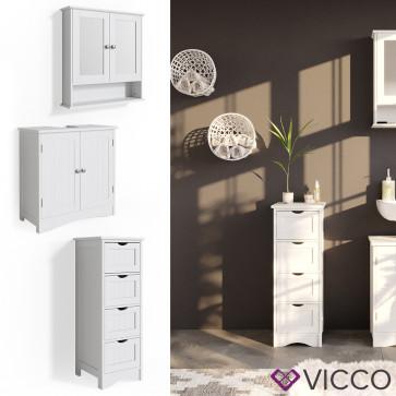 VICCO Badmöbelset 3 Bianco (Waschtischunterschrank + schmaler Badschrank + Spiegelschrank)