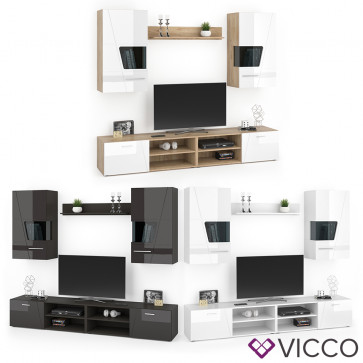 VICCO Wohnwand MONTANA Hochglanz Anbauwand Schrankwand TV Lowboard Hängeschrank