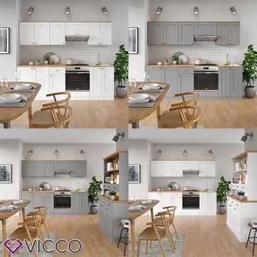 VICCO Küchenzeile Cambridge 240cm Landhaus Stil Einbauküche Komplettküche Küche inkl Herdumbauschrank