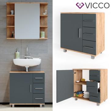 VICCO Waschtischunterschrank ILIAS Eiche Anthrazit