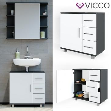VICCO Waschtischunterschrank ILIAS Weiß Anthrazit