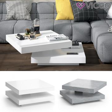 VICCO Couchtisch ELIAS 360° drehbar 70 x 70 x 34 cm Wohnzimmertisch Tisch