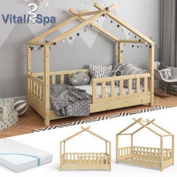 VITALISPA Hausbett DESIGN 70x140cm Holz Natur Zaun mit Matratze