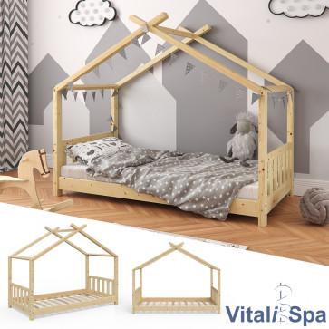 VITALISPA Hausbett DESIGN 80x160cm Holz Natur