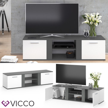 Vicco TV Lowboard Novelli weiß/anthrazit
