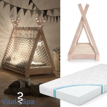 VITALISPA Kinderbett TIPI 70x140 cm Natur + Matratze