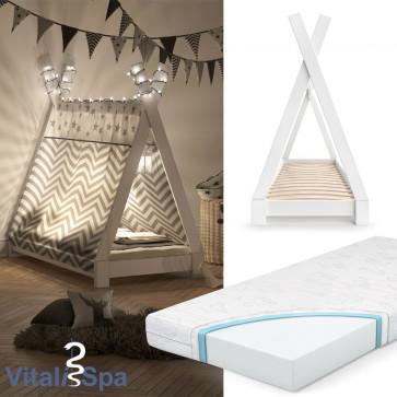 VITALISPA Kinderbett TIPI 70x140 cm Weiß + Matratze