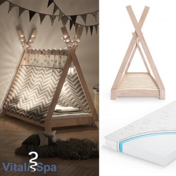 VITALISPA Kinderbett TIPI 80x160 cm Natur + Matratze