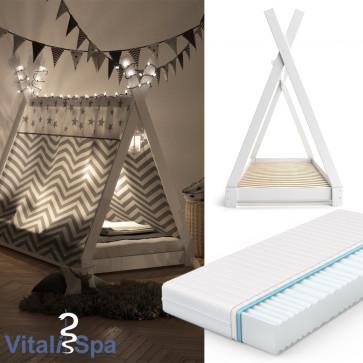 VITALISPA Kinderbett TIPI 90x200 cm Weiß + Matratze