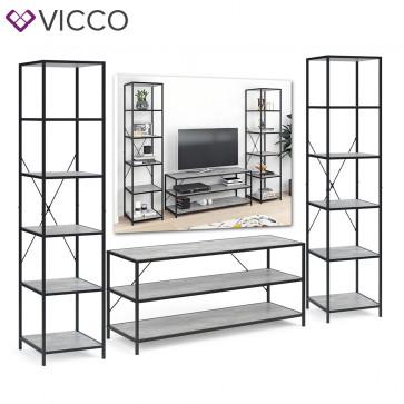 VICCO Loft Set Fyrk Standregal Fernsehtisch Beton