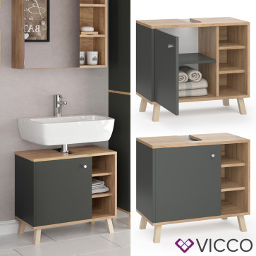 VICCO Waschtischunterschrank SENYO Goldkraft Anthrazit