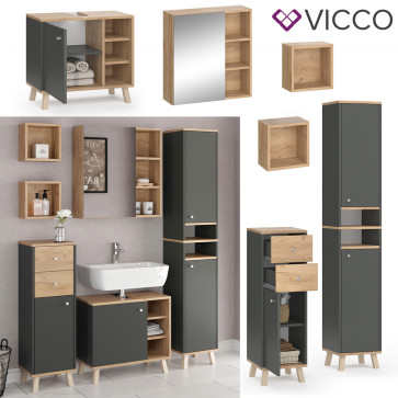 VICCO Badmöbel Set 3 SENYO Anthrazit Goldkraft