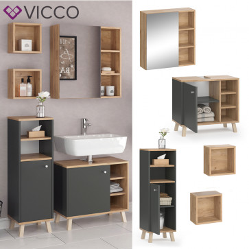 VICCO Badmöbel Set 4 SENYO Anthrazit Goldkraft