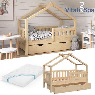 VITALISPA Hausbett DESIGN 70x140cm Babybett mit Schublade Matratze Natur