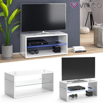 Vicco Lowboard Rio TV-Board weiß mit LED Beleuchtung Fernsehschrank TV-Schrank