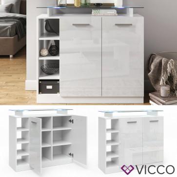 Vicco Kommode Asti 2 Türen weiss hgl LED