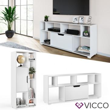 Vicco Regal Domus Weiß 6 Fächer 1 Tür