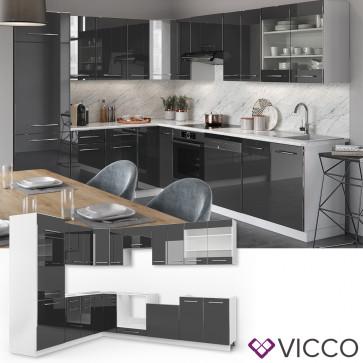 VICCO Küchenzeile Fame-Line Eckküche Anthrazit Hochglanz