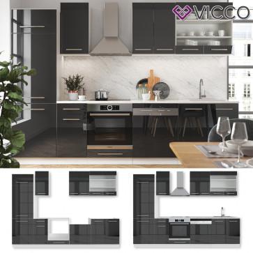 VICCO Küchenzeile Fame-Line 240 cm Anthrazit Hochglanz