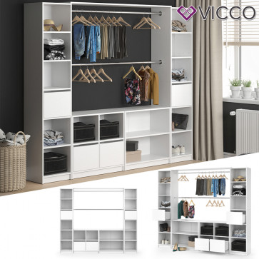VICCO Kleiderschrank XXL GUEST offen in weiß